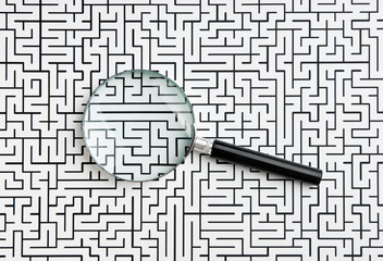 magnifying glass and labyrinth