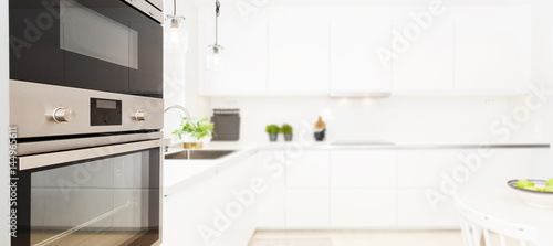 Fancy Kitchen Interior Banner With Blurred Background Stock Photo