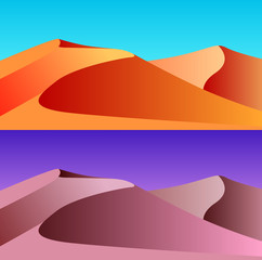 Set of desert landscape illustrations. Day and night. Vector background for your creativity