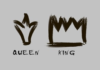Painted with a brush crown of the king and queen in grunge style black on an isolated layer