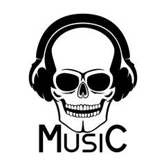 Skull with headphones.