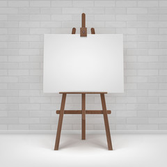 Vector Wooden Brown Easel with Mock Up Empty Blank Horizontal Canvas Standing on Floor in front of Brick Wall