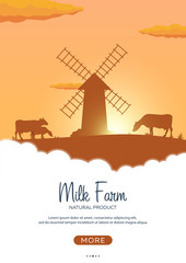 Poster Milk natural product. Rural landscape with mill and cows. Dawn in the village.