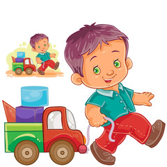 Vector illustration little boy rolling his car, truck. Print