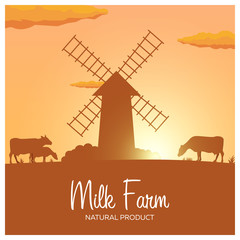 Milk farm natural product. Rural landscape with mill and cows. Dawn in the village.