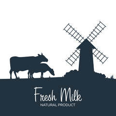 Milk natural product. Rural landscape with mill and cows. Dawn in the village.