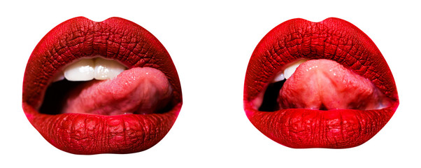 Beautiful lips collection with sexy tongue. Beautiful make-up closeup. Sensual open mouth isolated on white. Classic red luxury lipstick set or collage. Female open mouth as symbol of love and passion