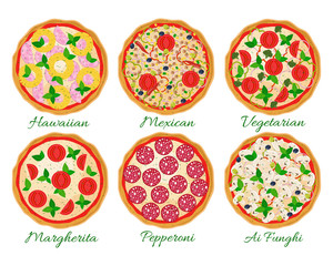 Pizza set vector illustration. Hawaiian, Margherita, Pepperoni, Vegetarian, Mexican, Mushroom pizza