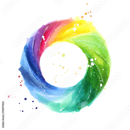 Abstract Color Wheel Watercolor Painting