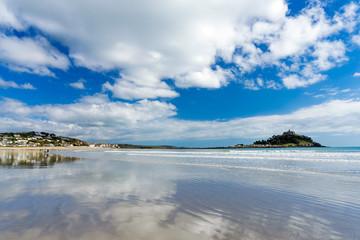 Marazion beach and St Michael's Mount Cornwall England UK