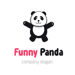 Panda bear logo or badge template. Flat design. Animal silhouette.