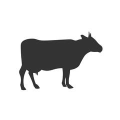 Cow black silhouette. Vector design illustration icon.