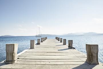 "Mediterranean Sea, ""Goldene Rente"", pier and sailing boat"