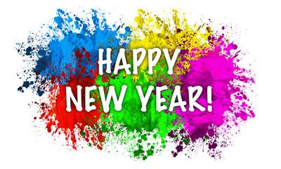 Paint Splatter Words - Happy New Year
