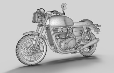 3d model of motorbike wireframe on grey background