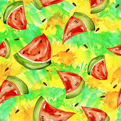 Seamless watercolor pattern with a slice of bright red fruit  watermelon, bones, splash of color, beautiful vintage background. For a diverse design.  Fashion pattern with a splash of color and paint