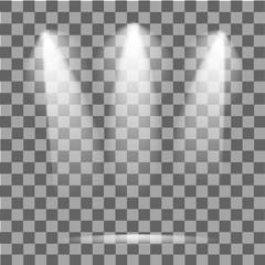 Scene illumination. Cold light effect. Stage illuminated spotlight on transparent background. Vector illustration.
