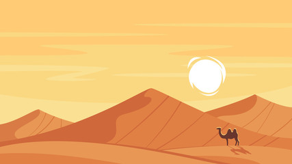 Vector cartoon style background with hot desert