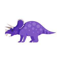 Vector flat style illustration of prehistoric animal - Triceratops.
