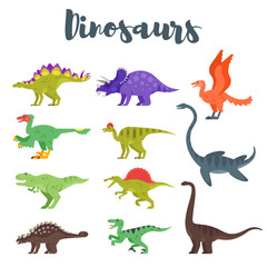 Vector flat style set of colorful prehistoric dinosaurs.