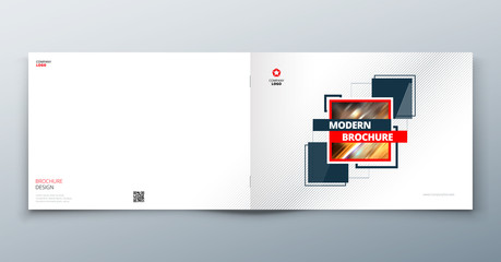 Landscape Brochure design. Corporate business template for brochure report catalog magazine book booklet. Horizontal layout with modern elements and abstract background.