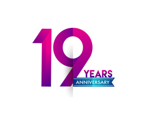 nineteen years anniversary celebration logotype colorful design with blue ribbon, 19th birthday logo on white background