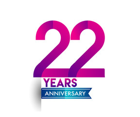 twenty two years anniversary celebration logotype colorful design with blue ribbon, 22nd birthday logo on white background