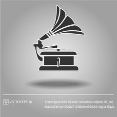 Gramophone vector icon eps 10. Simple isolated illustration.