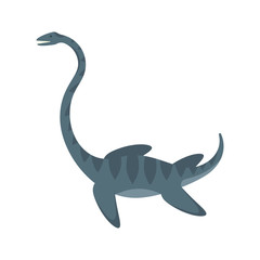 Vector flat style illustration of prehistoric animal - Elasmosaur.