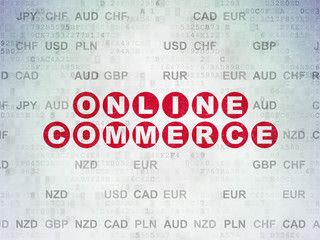 Business concept: Online Commerce on Digital Data Paper background