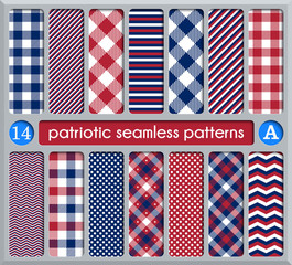 Patriotic set of white , blue, red seamless patterns