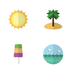 Flat Season Set Of Sundae, Coconut, Sunshine And Other Vector Objects. Also Includes Sea, Sunshine, Cream Elements.