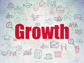 Finance concept: Growth on Digital Data Paper background