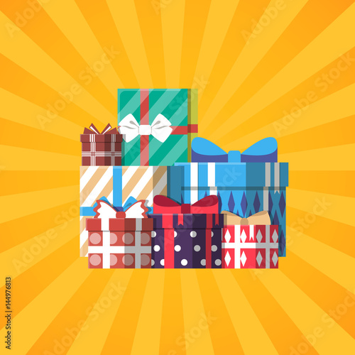 Happy Birthday Banner With Colorful Gift Box Vector Illustration
