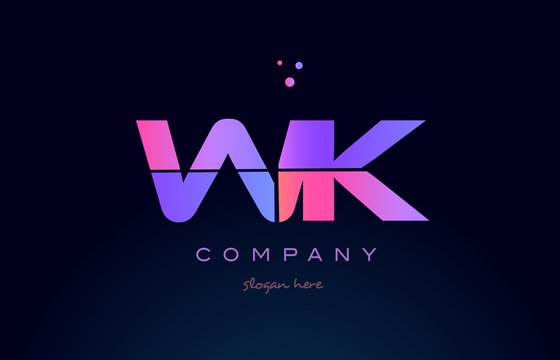 wk w k creative blue pink purple alphabet letter logo icon design