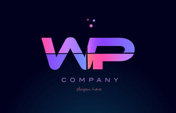 wp w p creative blue pink purple alphabet letter logo icon design