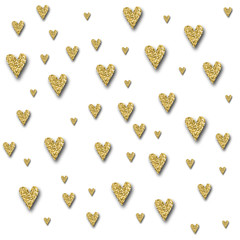 Gold glittering heart confetti seamless pattern on white background