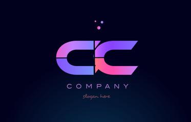 cc c c creative blue pink purple alphabet letter logo icon design