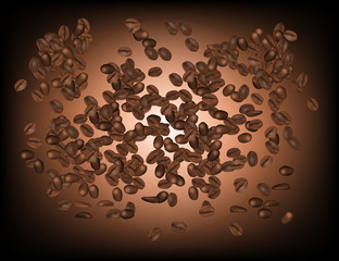 Coffee Beans Isolated in Brown Background