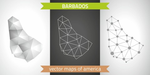 Barbados set of grey and silver mosaic 3d polygonal maps. Graphic vector triangle geometry outline shadow perspective maps
