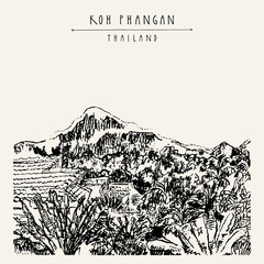 Koh Phangan island, Thailand, Mountain view. Tropical paradise. Hand drawn travel postcard