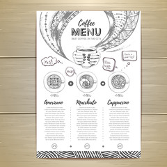 Coffee menu design. Decorative sketch of cup of coffee or tea