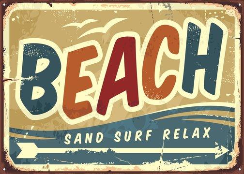 Beach sign vector retro background
