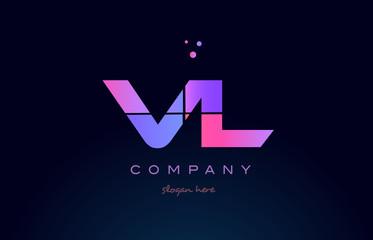 vl v l creative blue pink purple alphabet letter logo icon design