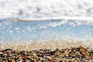 Pebbles on the shore of the Mediterranean Sea