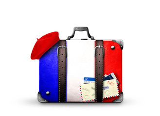 France, vintage suitcase with French flag