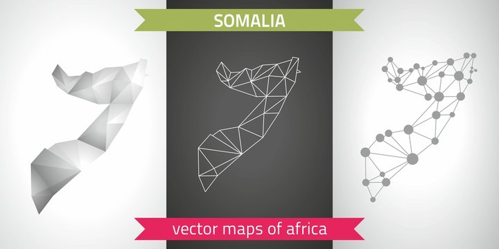Somalia collection of vector design modern maps, gray and black and silver dot contour mosaic 3d map