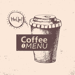 Cup of coffee. Vector illustration. Menu design