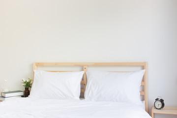 bed at home bedroom, interior, Interior design. Mock up wall bedroom interior.