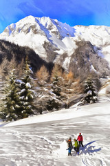 Colorful painting winter landscape